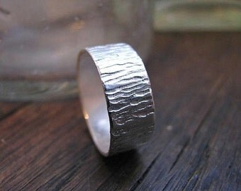 Sterling Silver Tree Bark Band