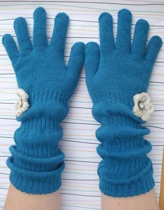 Dark Turquoise Flapper Gloves