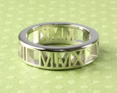 "Personalized Roman Numeral Ring, Sterling Silver in ""Pierced"" Style, 6mm"