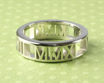 "Personalized Roman Numeral Ring, Sterling Silver in ""Pierced"" Style, 6mm 