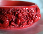Antique Chinese carved Cinnabar Bangle --Fire Breathing Dragons --