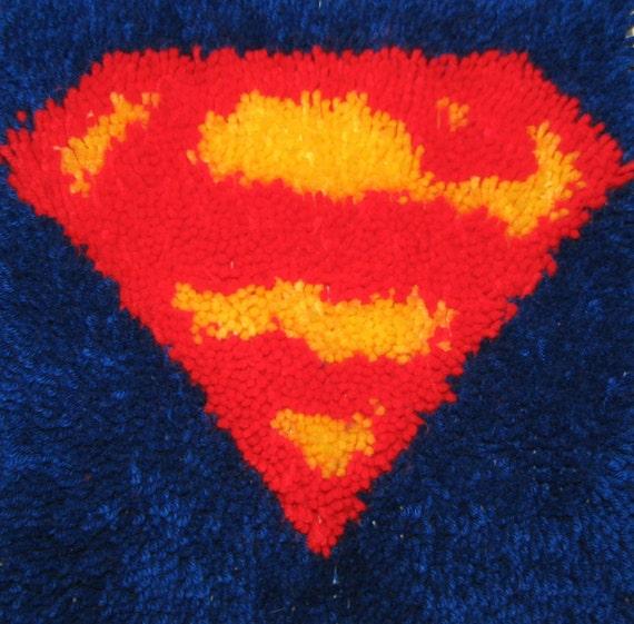 Superman 12X12 Latch Hook Kit - Free Shipping