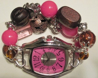 Chunky brown, pink and silver acrylic beaded interchangeable watch band. Pink watch face included.