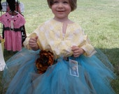 Size 2-3 Tourquoise And Soft Brown TuTu And Flower Pin