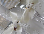 SALE 2 Pc Personalized Love Birds Cake Knives Knife Server. Ivory. Table Setting Wedding 3 Day Ship