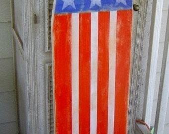 4FT Patriotic American FLag Surfboard Decor / Sign / Hawaiian Surf Beach wall art decor / Surfboard Headboard /July 4th Decor