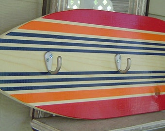 27 inch SURFBOARD HOOK RaCK for towels clothes keys / SALE / Red Orange Navy Hawaiian Surf Wall Decor / Custom Painted  Lots Designs 2 Sizes