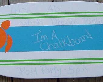 27 Inch SURFBOARD ChalkBoard Message Memo Board. Kids Room Decor / Wedding Hawaiian Turtle Surf Beach wall art decor SALE