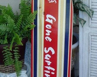 SALE 4FT SURFBOARD. Gone Surfing. Woody Car. Hawaiian Beach Wall art. Hawaiian Surf Wall Decor. Custom Painted / LOT Designs 2 Sizes..wow