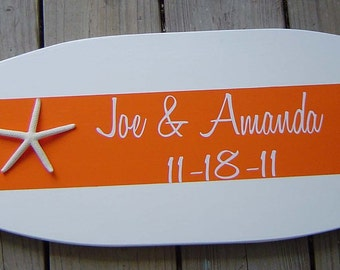 27 inch Personalized Orange STARFISH BEACH Wedding SURFBOARD Guest Sign In Book / Mr Mrs Sign / Pick Color / Lots Designs 2 Sizes