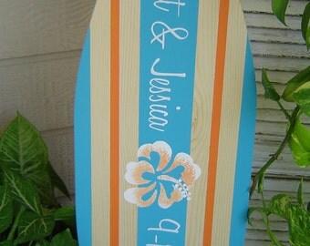 27 inch SURFBOARD Hawaiian Beach Wedding Alternative Sign In Book Board. Turquoise Orange / Personalized / Lots Designs 2 Sizes / SALE