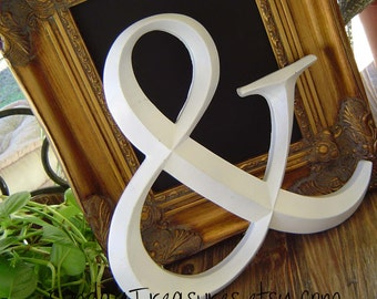 White Ampersand. AND Symbol Graphics Sign. Alaphabet Letters A-W. Custom Painted  Wall Art. Family Initials. Wedding. Lovers. 3 Day Ship.