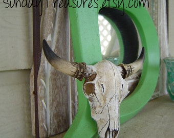 Faux Taxidermy / Cow Skull /  Buffalo / Bison / Man Cave Wall Decor / Weathered / Cowboy Western Decor / Wedding Centerpiece / The Yong