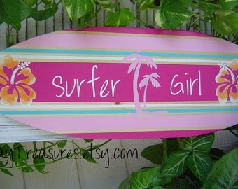 SALE 27 inch Surfboard Wall Decor Wall Hanging / Room Decor / Beach / Hawaiian / Kids / Surfer Girl / All Hand Painted /150 Designs 2 Sizes