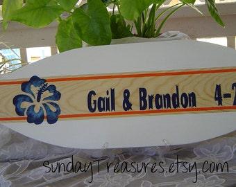 27 inch SURFBOARD Hawaiian Beach Wedding Alternative Sign In Book / Navy Orange White / Personalized / Lots Designs 2 Sizes / SALE