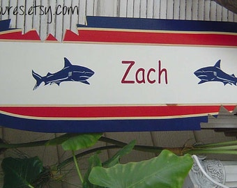 4FT SHARK SURFBOARD Wall art Beach Sign with Shark Bites.  Navy Red. Hawaiian Surf Wall Decor. Custom Painted--Personalized
