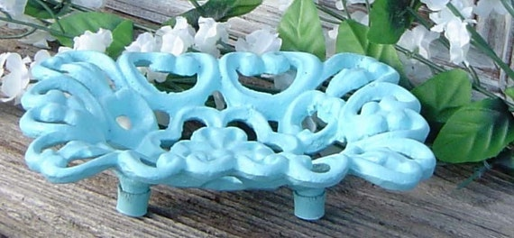 3 Day  Ship. Robins Egg Blue. Business Card Holder Iron Soap Dish. Paris Shabby Beach Chic.CUSTOM painted