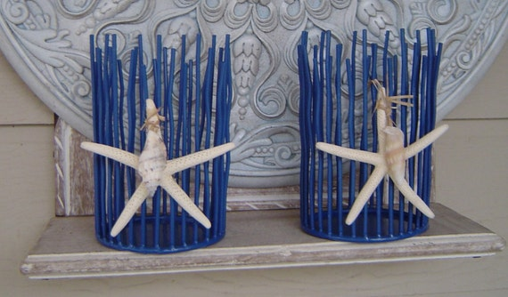 Set of  2 Starfish and Seashell Reed Candle holders.  Blue. Great for Beach Weddings or a Beach Cottage.  A timeless classic.  .