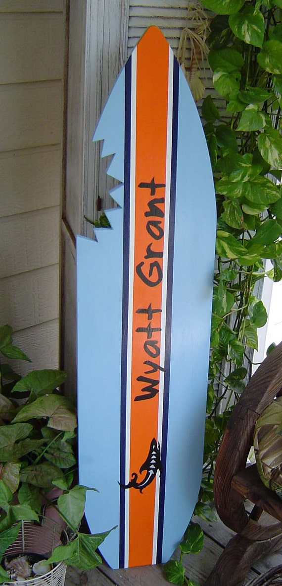 4FT PERSONALIZED SHARK SURFBOARD. Kids Wall by SundayTreasures