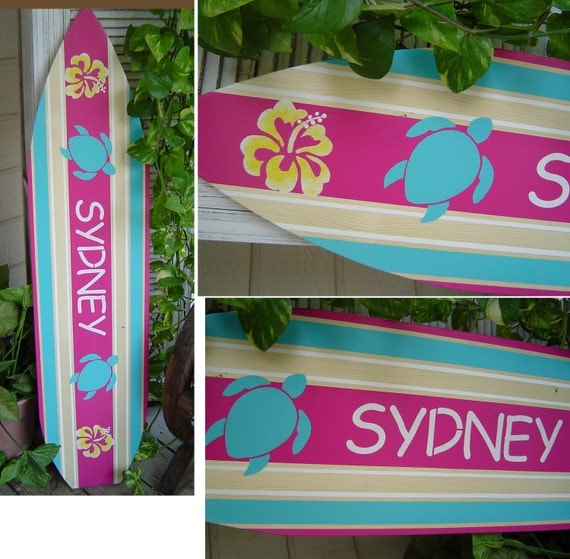 Items similar to 4ft surfboard hawaiian wall art decor for Surfboard decor for bedrooms