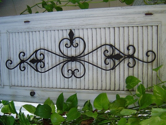 Large Black Architectural Iron Wall Scroll scrolly Sculpture Wall Decor Pediment / Paris Shabby French Country Indoor Outdoor