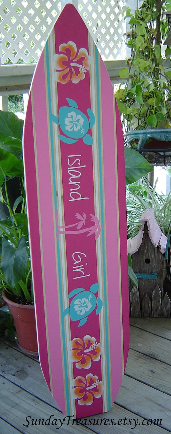 4ft Pink Surfboard Hawaiian Wall Art Decor Room Decor