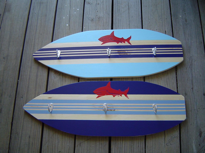 27 Inch Shark Surfboard Hook Rack For Towels Clothes Keys