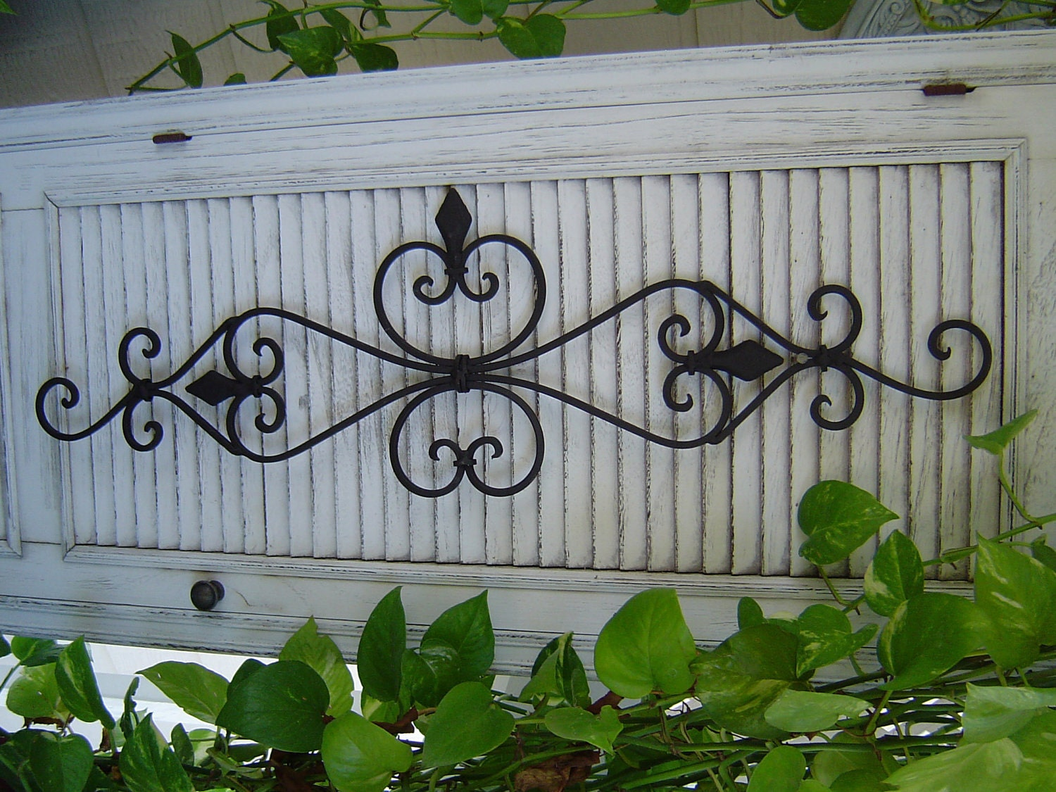 Outdoor Wall Art Metal Scroll : Large black architectural iron wall scroll scrolly sculpture