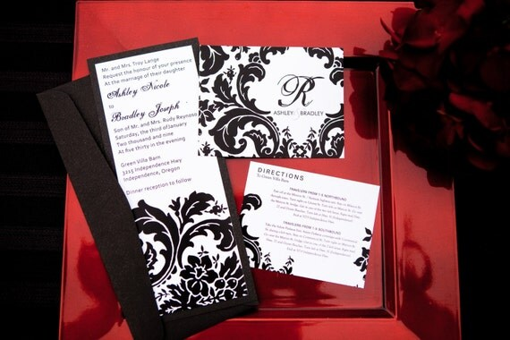 Elegant Damask Designer Wedding Invitations (sample)