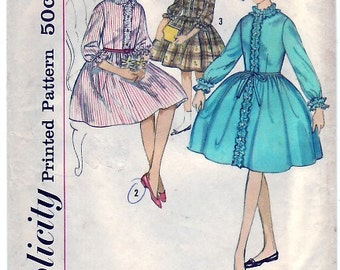 Vintage 1950s Simplicity 4583 Sewing Pattern Girls One Piece Dress Size 7