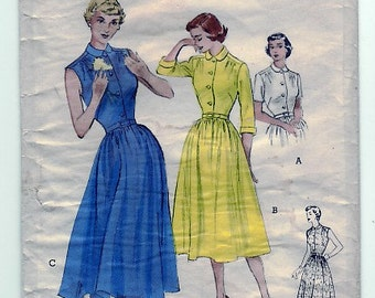 Vintage 1951 Butterick 5641 Sewing Pattern Misses' Dress Size 12 Bust 30