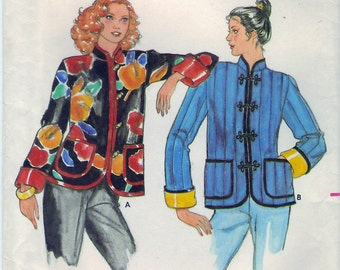 Vintage 1980s Butterick 6929 Sewing Pattern Misses' and Junior's Jacket Size Medium Bust 32 - 33-1/2