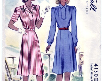 Vintage 1941 McCall's 4130 Sewing Pattern Ladies', Misses' Dress Size 14 Bust 32