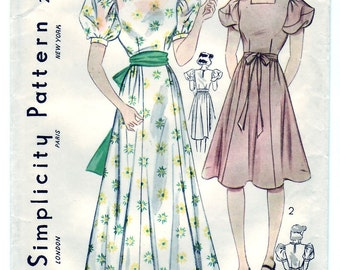 Vintage 1937 Simplicity 2442 Sewing Pattern Teen's, Girls' Graduation or Party Dress Size 16