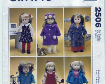 1999 McCall's Crafts 2506 UNCUT Sewing Pattern 18ins Doll Cothes and Dog