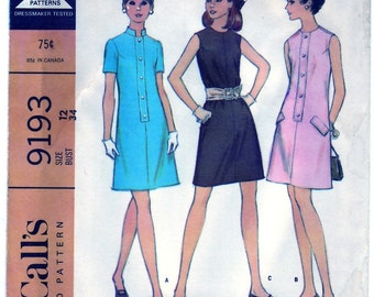 Vintage 1968 McCall's 9193 UNCUT Sewing Pattern Junior's and Misses' Dress in Three Versions Size 12 Bust 34