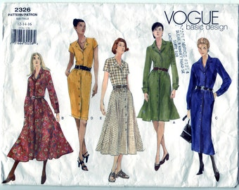 Vintage 1999 Vogue 2326 Basic Design Sewing Pattern Misses' Dress Size 12-14-16 Bust 34,36,38