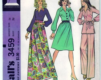 Vintage 1972 McCall's 3459 UNCUT Sewing Pattern Misses' Blouse, Skirt and Pants Size 14 Bust 36