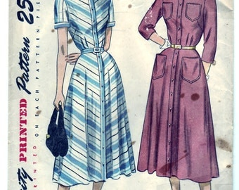 Vintage 1948 Simplicity 2362 Sewing Pattern Misses' and Women's One-Piece Dress Size 18 Bust 36