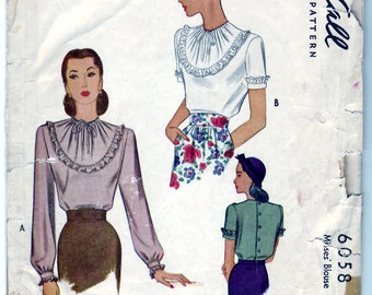 Vintage 1945 McCall 6058 Sewing Pattern Misses' Blouse Size 14 Bust 32