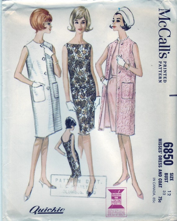 Vintage 1963 McCall's 6850 UNCUT Sewing Pattern Misses' Dress and Coat Size 12 Bust 32