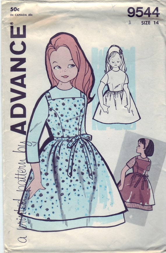 Vintage 1960 Advance 9544 UNCUT Sewing Pattern Girl's Dress and Tunic Jumper Size 14