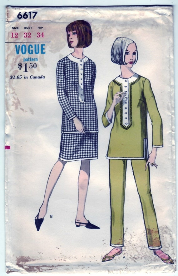 Vintage 1965 Vogue 6617 UNCUT Sewing Pattern Misses' Coordinates, Overblouse, Skirt and Pants Size 12 Bust 32