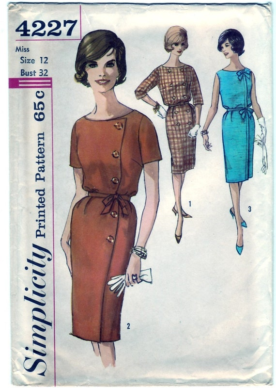 Vintage 1962 Simplicity 4227 UNCUT Sewing Pattern Misses' One-Piece Wra-Around Dress Size 12 Bust 32