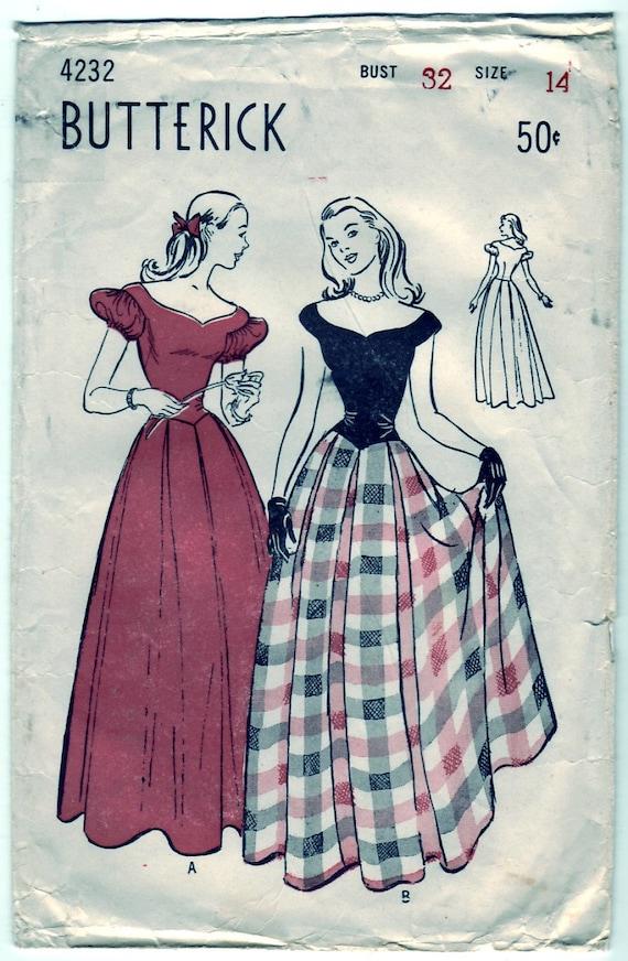 Vintage 1947 Butterick 4232 Sewing Pattern Teen-Age Bouffant Dance Dress Size 14 Bust 32