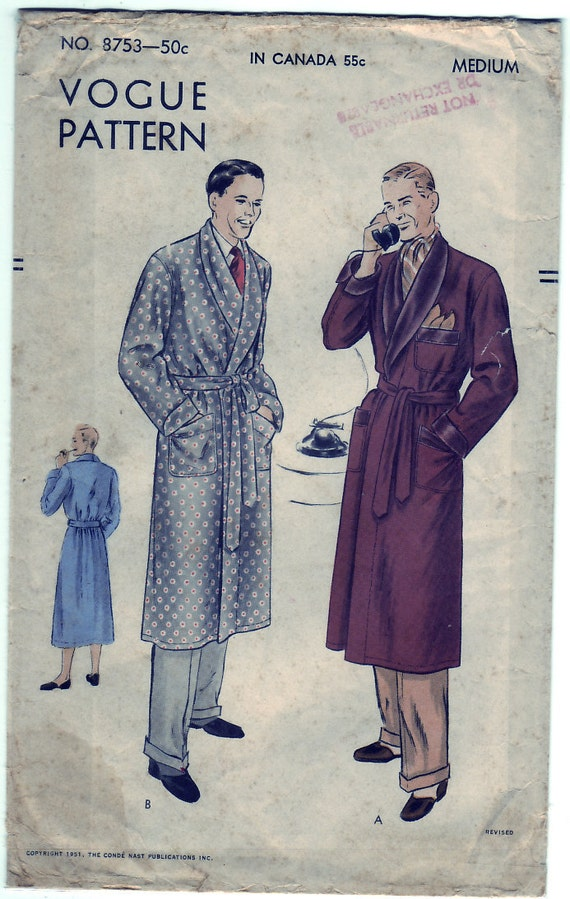 Vintage 1951 Vogue 9753 Sewing Pattern Men's Robe Size Medium