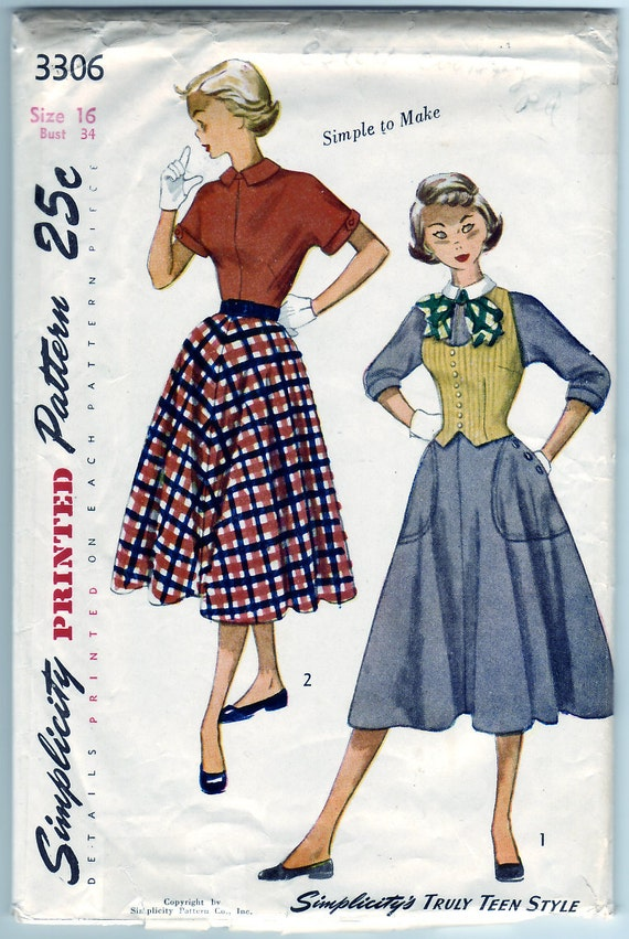 Vintage 1954 Simplicity 3306 Sewing Pattern Teen-Age One-Piece Dress and Weskit with Detachable Collar Size 16 Bust 34