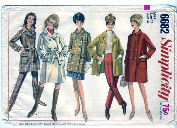 Vintage 1966 Simplicity 6682 UNCUT Sewing Pattern Misses' Coat in Two Lengths and Slacks Size 12 Bust 32