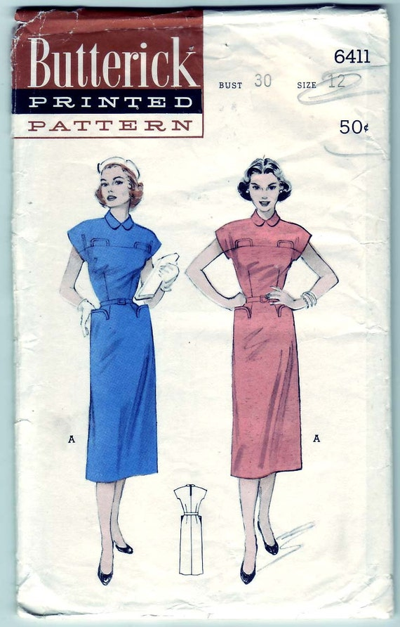 Vintage 1953 Butterick 6411 Sewing Pattern Misses' Tailored Dress, Slim Skirt Size 12 Bust 30