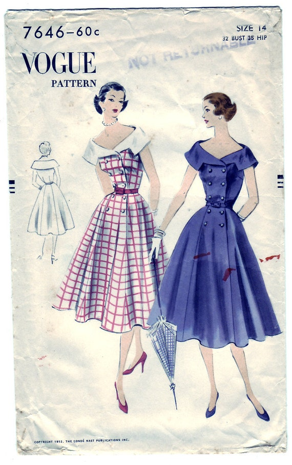 FREE SHIPPING Vintage 1952 Vogue 7646 Sewing Pattern Misses' One-Piece Dress Size 14 Bust 32